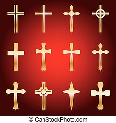 Set of Gold Crosses