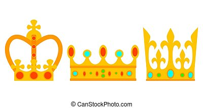 Set of gold crown with precious stones. Vector illustration