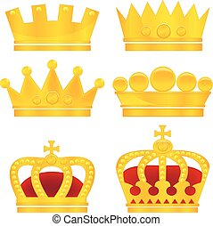 Set of gold crowns on white background, vector illustration