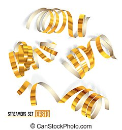 Set of gold curling streamers on white