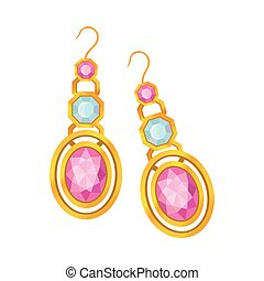 Set of gold earrings with precious stones. Vector illustration on white background.