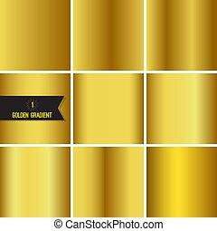 Set of gold foil texture background. Collection yellow vector elegant gradient. Luxury golden fashion design.