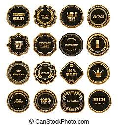 Set of gold framed labels.