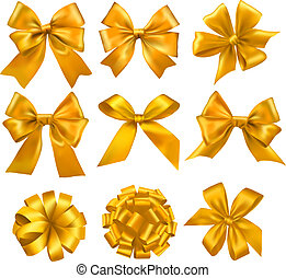 Set of gold gift bows with ribbons. Vector.