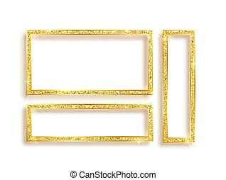Set of gold glitter frames with sparkles on white background.