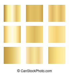 Set of gold gradients. Golden backgrounds. Vector illustration.