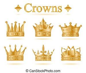 Set of gold king crown .Vector illustration