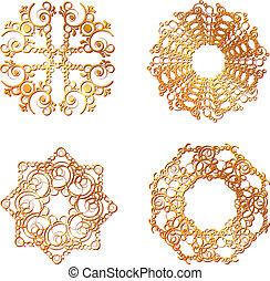 gold lace symbols - set of gold lace symbols