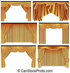 Set of gold luxury curtains and draperies