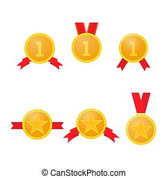 Set of gold medals with red ribbons  .