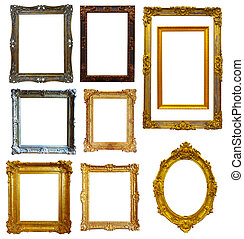 Set of gold picture frame - Set of few gold picture frame. ...