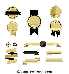 Set of gold premium badges and ribbons.