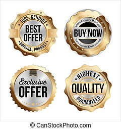 Set of Gold sale badges