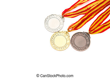 set of gold silver and bronze award medals on white background