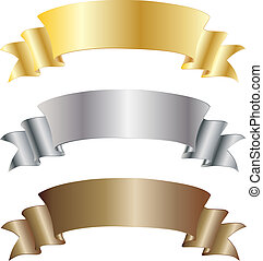 Set of gold silver and bronze vector ribbons for your text