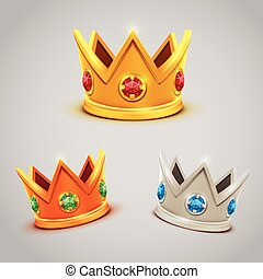 Set of gold silver bronze crowns with jewels. Vector...