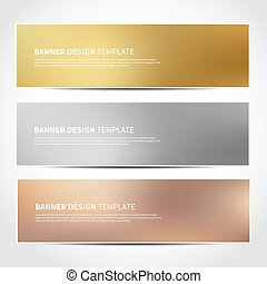gold, silver, bronze vector banners - Set of gold, silver,...