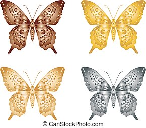 Set of gold silver butterfly on a white background, a collection of butterflies. Vector illustration