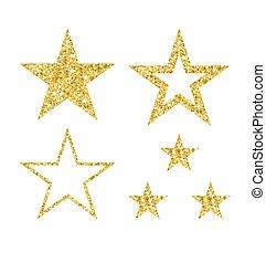 set of gold star on white