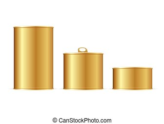 Set of Gold Tin Cans. Vector