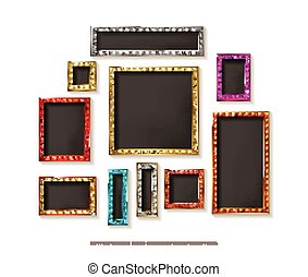 Set of gold vector frames cinema
