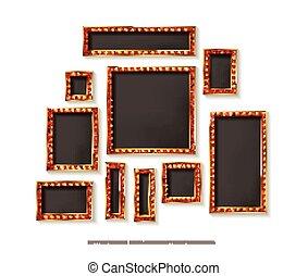 Set of gold vector frames cinema