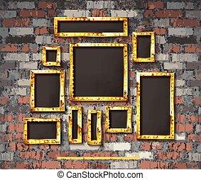 Set of gold vintage frames