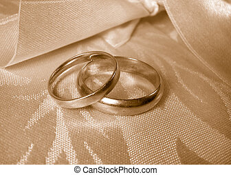 wedding rings - set of gold wedding rings in sepia tone