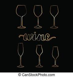 Set of gold wine glasses,