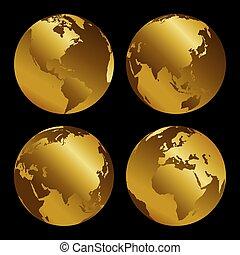 Set of golden 3d metal globes on black background, vecor illustration