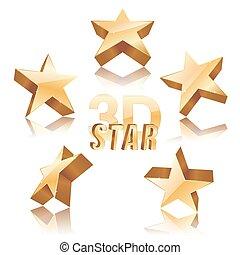 set of golden 3d stars on white background. vector illustration