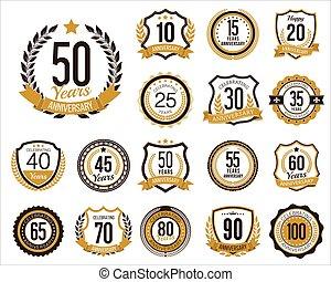 Anniversary Badges - Set of Golden Anniversary Badges. Set ...