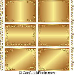 set of golden backgrounds - vector illustration