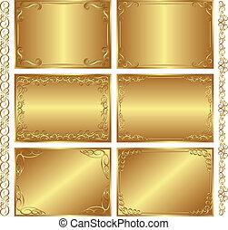 golden backgrounds - set of golden backgrounds - vector...