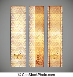 set of golden banners