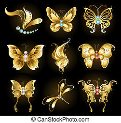 set of golden dragonflies and butterflies, encrusted with sapphires, rubies and diamonds on a black background