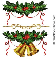 Set of golden Christmas bells with holly
