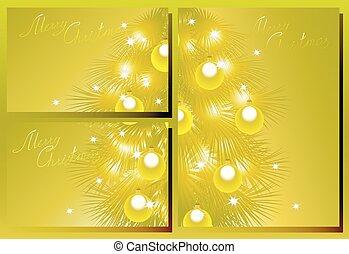 Set of golden Christmas Cards. EPS10 vector illustration