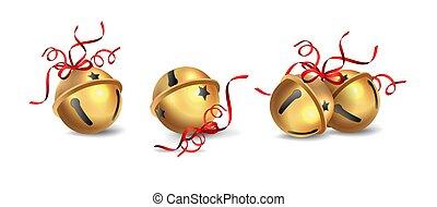 Christmas Jingle Bells - Set of golden Christmas Jingle...