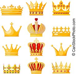 Set of golden crown monarchs on a white background. Isolated regalia of the king, queen, princess, prince. Subjects of coronation and power. Vector illustration
