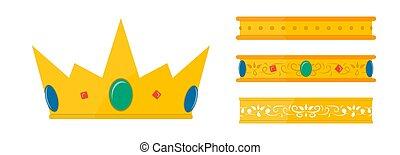 Set of golden crowns with gemstones