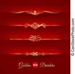 Set of golden decorative dividers - Vector set of golden...