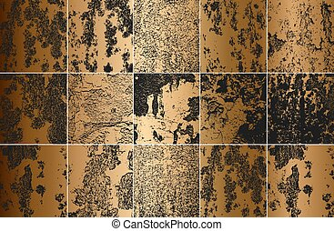Set of golden distress rust metal vector texture. EPS8 illustration. Black and white grunge background.