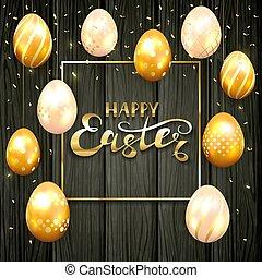 Set of golden Easter eggs on black wooden background