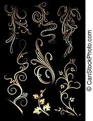 Set of golden floral elements on a black background for your design.