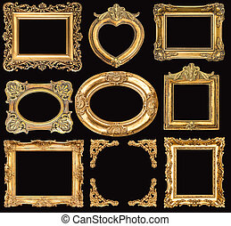 set of golden frames. baroque style antique objects
