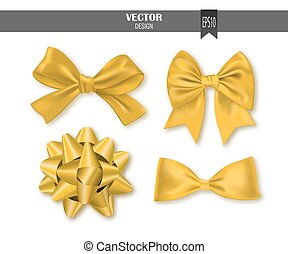 Set of golden gift bows with ribbons. Vector illustration.