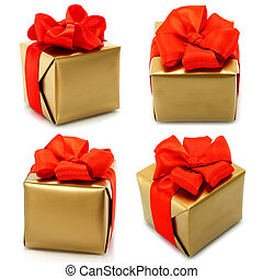 Set of golden gifts with red bow