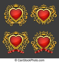 Set of golden hearts. Coat of arms.
