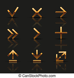 Set of golden icons